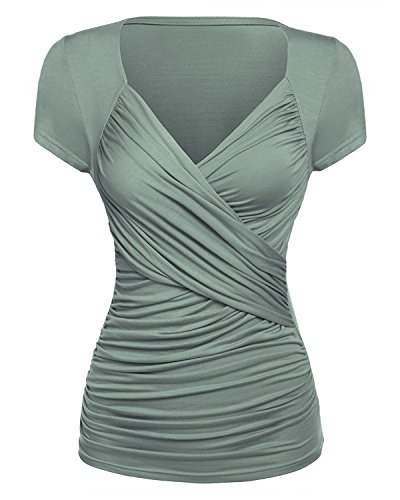 (GAMISS Women's Cross-Front V Neck Ruched Cap Sleeves Top Casual Wrap T-Shirt Blouse (Gray Green, M))