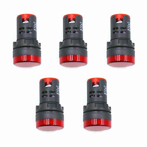 HONJIE Red LED Indicator Pilot Signal Light Lamp AC/DC 110V Flush Panel Mount 7/8