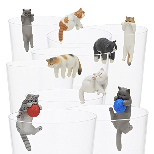 Kitan Club Putitto Exotic Shorthair Cat Cup Toy - Blind Box Includes 1 of 8 Collectable Figurines - Hangs on Thin, Flat Edges - Authentic Japanese Design - Made from Durable Plastic, Premium