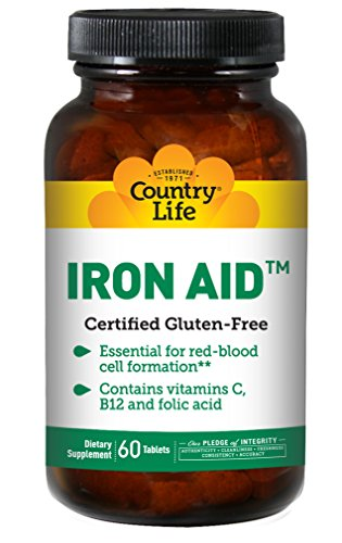 Country Life - Iron Aid, with Vitamins C, B-12, and Folic Acid - 60 Tablets