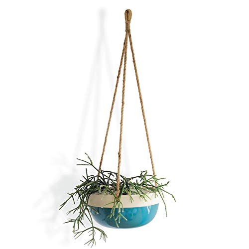 Carlton Lane Bonn - Ceramic Plant Hangers - Hanging Pots for Plants - Large 9.8 x 9.8 x 4.7-Inch Hanging Planters for Indoor and Outdoor Flowers - Anti-Rope Rot Design with Drainage Holes - Green