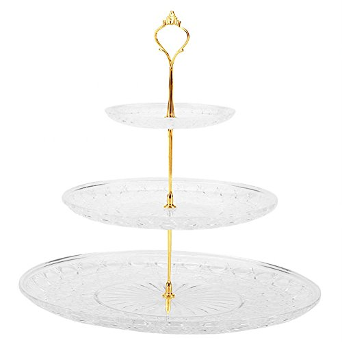 3 Tier Cake Stand, 3-Tier Acrylic Round Crown Cake Plate Fruits Nuts Desserts Display Holder for Party Wedding Use -