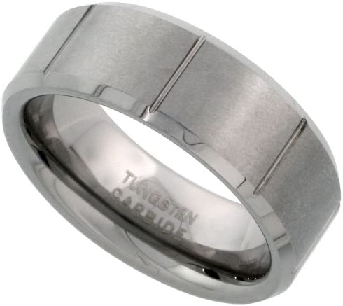 Tungsten Carbide 8 mm Flat Wedding Band Ring Satin Finished Vertical Grooves Beveled Edges Sizes 7 to 14