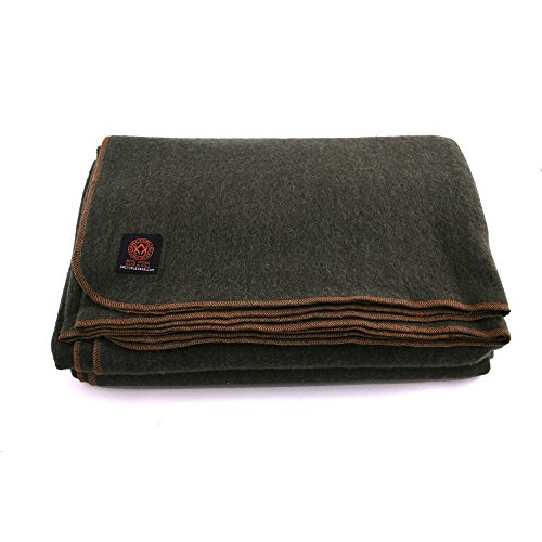 Arcturus™ 80% Heavy Wool Blanket – 4 lbs, Warm, 64″ x 88″ (Military Olive Green)