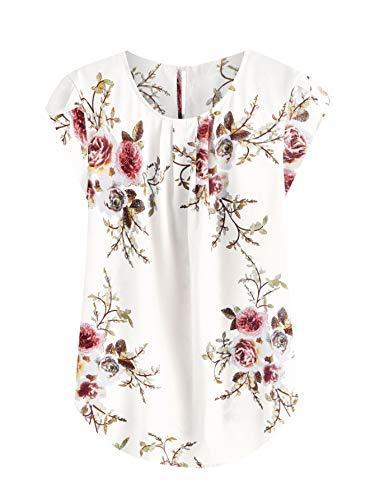 Milumia Women's Elegant Floral Print Petal Cap Sleeve Pleated Vacation Office Work Blouse Top