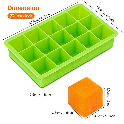 Ice Cube Tray with Lid, Ice Cube Trays Silicone, Ice Trays 2 Pack, Easy Release Flexible Large Ice Cube Moulds, Dish Washer Safe BPA Free, Best for Freezer Baby Food Water Whiskey Cocktail and Drinks