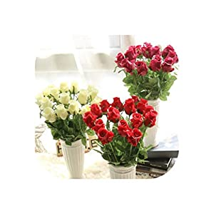 FAT SHEEP-Flowers 9Pcs Pu Rose Artificial Real Touch Home Decorations Wedding Decoration for Wedding Party Or Birthday Length:48Cm 49