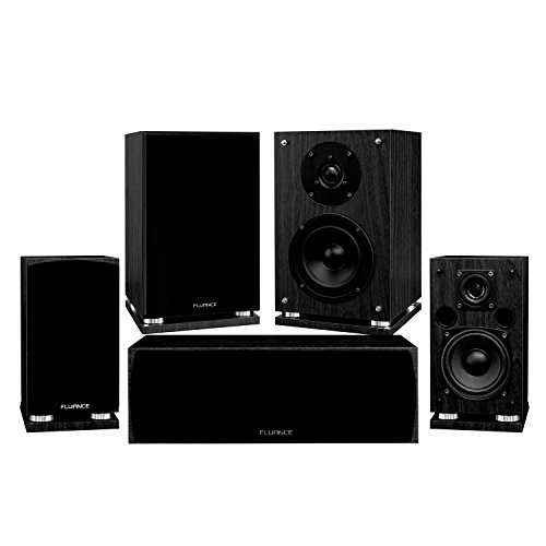 Fluance Elite Series Compact Surround Sound Home Theater 5.0 Channel Speaker System Including Two-Way Bookshelf, Center Channel, and Rear Surround Speakers - Black Ash (SX50BC)