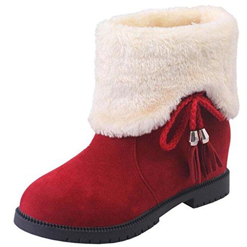 Binying Women's Bowknot Inner-Increaser Round-Toe Flat Slip-on Tassel Fur Snow Boots Red EstMKe