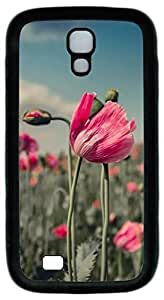 Brian114 Samsung Galaxy S4 Case, S4 Case - Protective Skin Black Soft Rubber Case for Samsung Galaxy S4 I9500 Red Flowers Field Pattern Case Cover for Samsung Galaxy S4 I9500