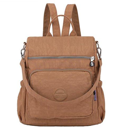 Women's Small Multipurpose Nylon Backpack Purse Travel Daypack Schoolbag for Girls (Khaki) by Happymart