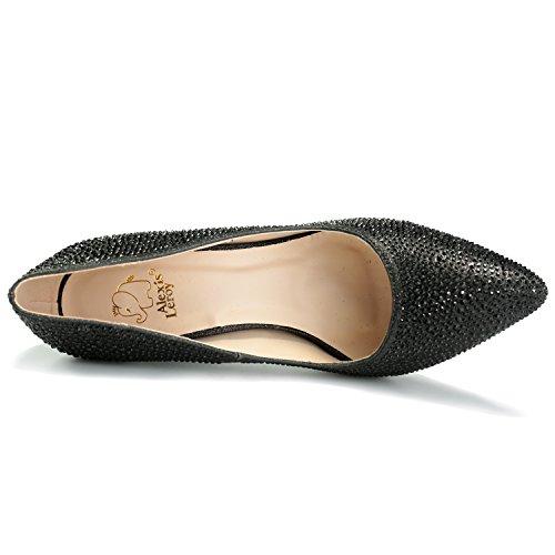 Escarpins fête Noir Talons Leroy élégante Alexis Femmes avec Chaussures à pailleté xqwYC7Tg