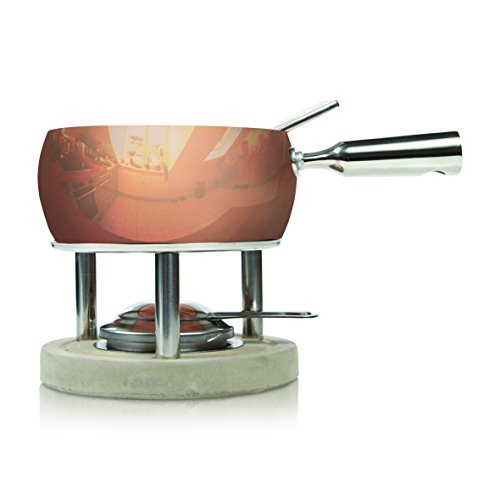 Boska Holland Fondue Set, 1-Liter Copper Pot with Concrete Base, Life Collection
