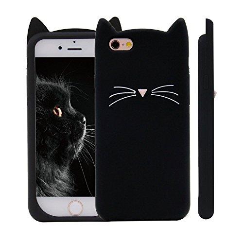 Unique iPhone 7 Plus Case, Cute 3D Creative Soft Feeling Silicone Phone Case Cover for Apple iPhone 7 Plus Black Meow (Cat Liquid)