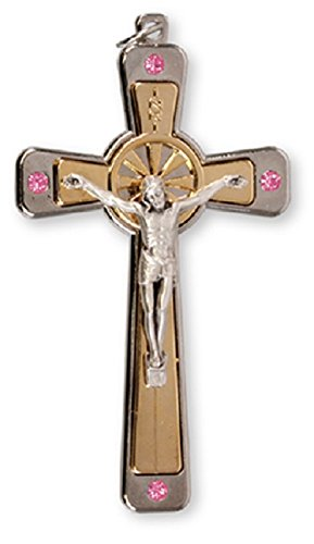 Metal Crucifix with Pink Swarovski Crystals & Lourdes Prayer -