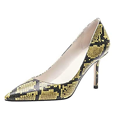 Melady Lydee Women Elegant Pumps Stiletto High Heels Court Shoes Slip on Office Dress Shoes Animal Print Yellow-Snake Size 44