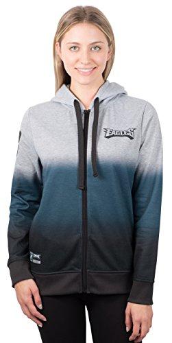 NFL Women's Philadelphia Eagles Full Zip Hoodie Sweatshirt Jacket Hombre, Medium, Gray Eagle Zip
