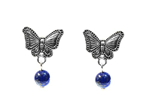 Real 925 Sterling Silver Oxidized Vintage Style Butterfly Lapis Lazuli Gemstone Stud Earrings Handcrafted (Earrings Butterfly Oxidized)
