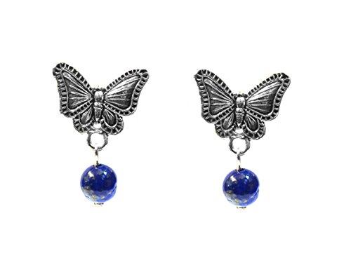 Real 925 Sterling Silver Oxidized Vintage Style Butterfly Lapis Lazuli Gemstone Stud Earrings Handcrafted (Butterfly Earrings Oxidized)