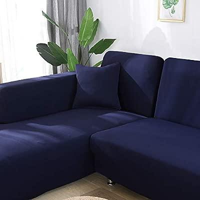 laamei Funda de Sofa Elástica Chaise Longue Brazo Largo Derecho Funda Cubre Sofá Modelo Acolchado Diseñada de Forma L 2 Piezas Protector para Sofá de ...