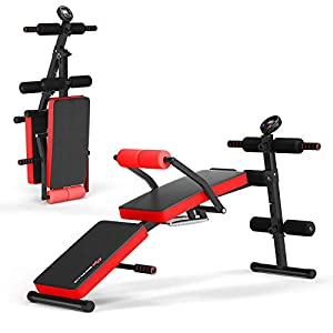 Goplus Adjustable Sit Up Bench, Foldable Utility Weight Bench w/LCD Monitor, Flat/Incline/Decline Exercise Multi-Purpose Bench for Home, Gym and Office