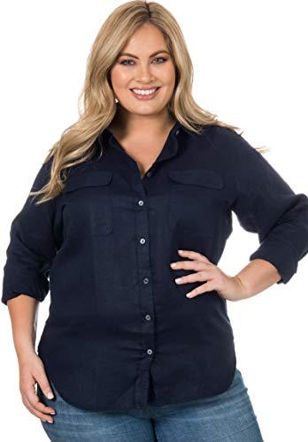 (CAMIXA Women's 100% Linen Button Down Plus Size Shirt Two Pockets Curvy Blouse X1 Navy Blue)