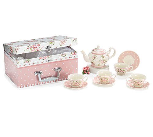 Child's Tea Set Porcelain Dainty Pink Roses, Polka Dot Saucers in Satin Lined Carry (Childrens Porcelain)