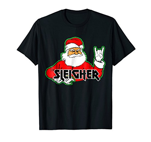 FUNNY Santa Sleigher Slayer Heavy Metal Ugly Christmas Shirt