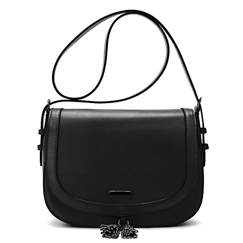 Leather Small Flap (ECOSUSI Women's Saddle Bag Purses Crossbody Shoulder Bag with Flap Top & Tassel, Black)
