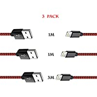 iPhone Cable Charger USB A to Apple Lightning 1M 1M 3M Extra Long Black Red Nylon Braided 2.4A Fast Charging Cord for MFI iPhone 7 Plus 6s Plus 6 5s 5c 5 iPad Pro Air mini iPod Touch (3 Pack)