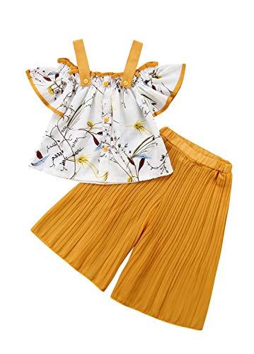 Vest Wide Leg Pants - 1-6T Baby Girl Pleated Wide Leg Palazzo Pants Set Halter Straps Off Shoulder Floral Vest Tops 2pcs Outfit