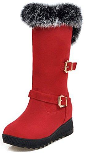 Up Punta Snow Calf Suede Moda Easemax Mujer Boots Rojo Redonda Mediados de Faux Tacón Mid Cuña Zip qXUYwU