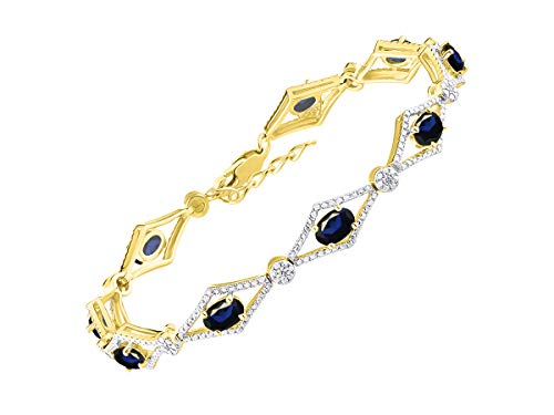 - Stunning Blue Sapphire & Diamond Tennis Bracelet Set in Yellow Gold Plated Silver - Adjustable to fit 7