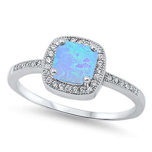 White CZ Blue Simulated Opal Square Halo Ring New .925 Sterling Silver Band Size 7