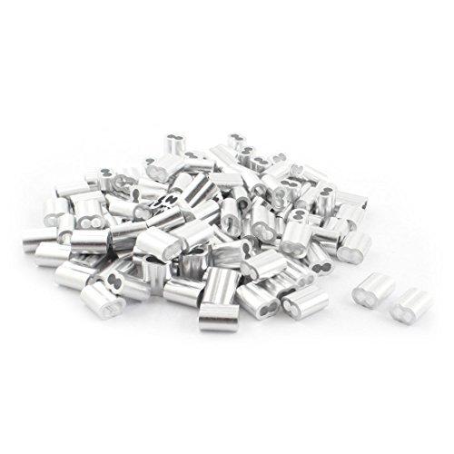 200 pièces en Aluminium Hourglass Manches 4 mm x 16 mm Pour câble métallique 4 mm