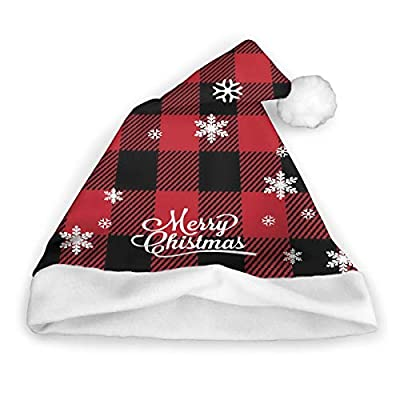 Funny Christmas Santa Hat Novelty Xmas Holiday Hats for Adults and Kids, Plaid Red and Black