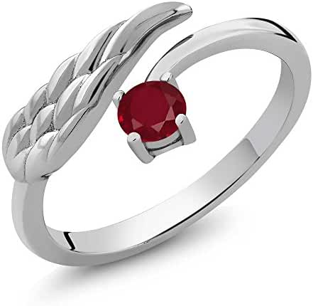 Sterling Silver Natural Red Ruby Gemstone Birthstone Wing Ring (0.30 cttw, 4MM Round, Available in size 5, 6, 7, 8, 9)