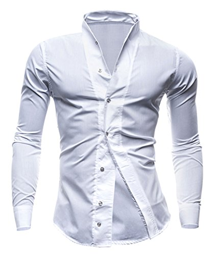 Seastar Men's Banded Collar Tailored Slim Fit Wing Tip Tuxedo Shirt White Medium