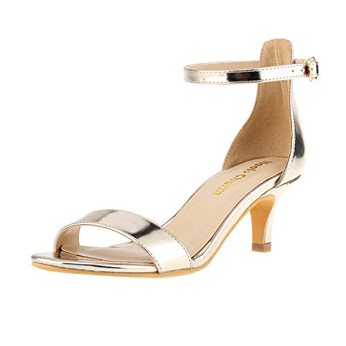 Women's Stiletto Open Toe Low Heel Sandal Ankle Strap High Heels 5CM Sandals Working Bridal Party Shoes Gold Size 7.5 (Gold Charm Shoe)