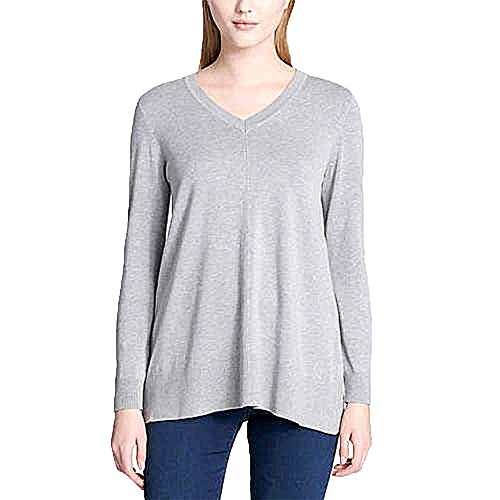 (DKNY Jeans Ladies' V-Neck Sweater (S, Grey))