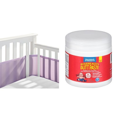 BreathableBaby Mesh Crib Liner, Lavender &  Boudreaux's Butt Paste Diaper Rash Ointment - Maximum Strength - Paraben and Preservative-Free - 14 Ounce