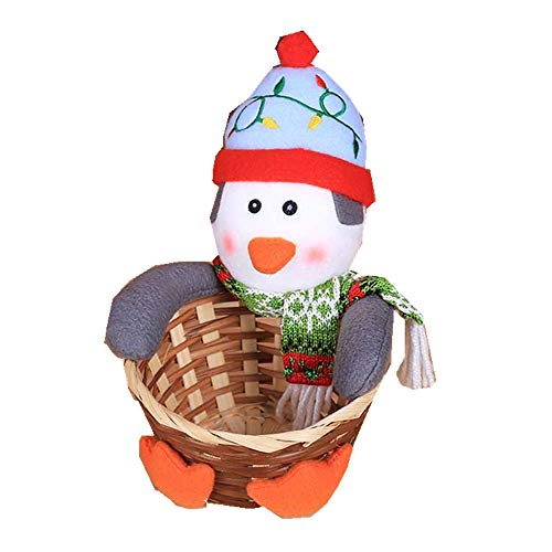 Santa Claus basket Christmas Party Decorations Supplies Set for Holiday Party Indoor Outdoor Yard Garden Party Decorations(Blue penguin3 Small)