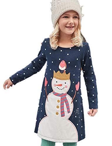 HOMAGIC2WE Girls Long Sleeve Cotton Dress Cute Cartoon