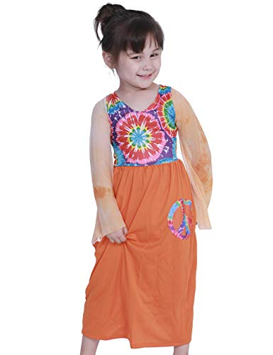 A&J DESIGN Children Girls Hippie Costume Peace Love Dress (Orange, X-Large)