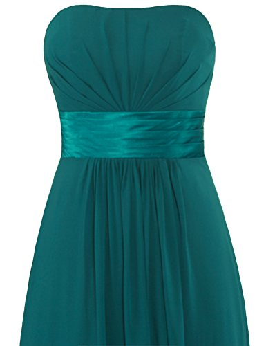 Chiffon Bridesmaid Women's Gown Prom Strapless Teal ANTS Long Dresses ORXdSSwq