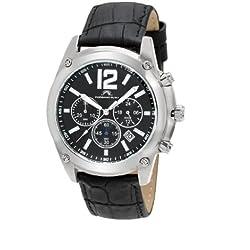 Porsamo Bleu Nathan Genuine Leather Silver Tone & Black Men's Watch 642ANAL