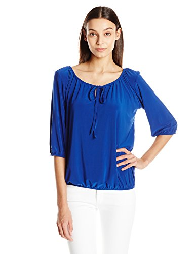 Star Vixen Women's 3/4 Sleeve Peasant Top with Keyhole Tie and Elastic Bottom Hem, Royal, X-Large ()
