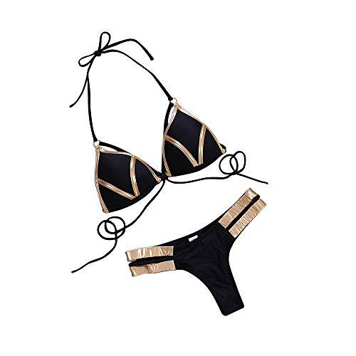 EJsoyo Women's 2 Piece Sexy Swimsuits Off Shoulder Triangle Bikini Set Thong Brazilian (Black, M)