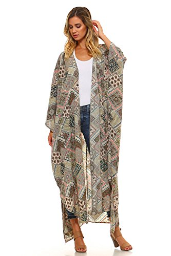 Frumos T4224 Womens Ankle Length Open Front Long Cardigan Olive Small