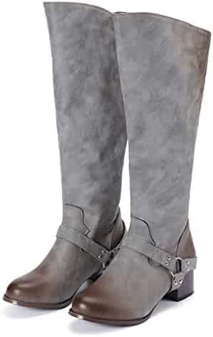 2befb4e56bc ... Knee Boots Pointed Toe Simple Zipper Thigh High Heels Shoes. (0).  Hunzed Women long leather boots Fashion Retro Low-Heeled Shoes Belt buckle  Rivets